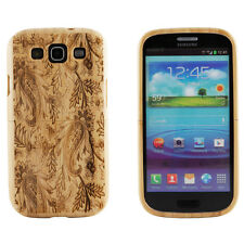 Samsung Galaxy S3 III Case Bamboo Engraved Ivy Paisley Cover Natural Hard Wood