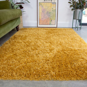 Ocher Yellow Shaggy Rug 4.5cm Thick Anti Shed Plain Living Room Shaggy Area Rugs
