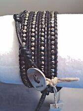 AUTHENTIC CHAN LUU Gun Metal Nuggets on Black LEATHER 5X Wrap Bracelet CL49B