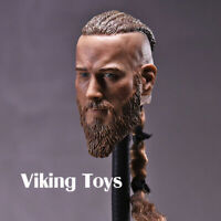 """1/6 Vikings Head Sculpt Carved Model f 12"""" Male Action Figure Body Dolls Soldier"""