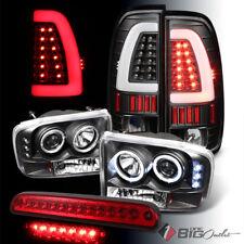 For 99-04 F250/350 Black Pro Headlights + Light-Bar LED Tail Lights + 3rd Brake