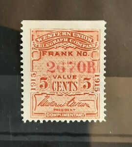 1915 Western Union Telegraph Co US Revenue 5c Stamp #16T47 MH with Gum