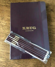More details for krug champagne moleskine notebook a5 new made in italy burgundy cover +pencils