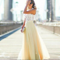 Women Bridesmaid Maxi Long Ballgown Party Evening Formal Wedding Prom Gown Dress