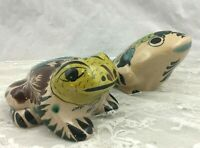 Vintage Pair Hand Painted Ceramic Tonala Mexico Pottery Frog Figurines Signed