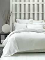 Linen House Deluxe Waffle White Duvet Quilt Cover Set Tailored edges, Super King
