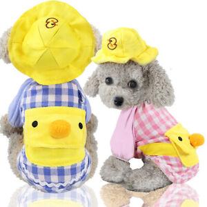 Duck Small Medium Dog Clothes Pet Puppy Costume Dog Cat Apparel Vest+ Sun Hat