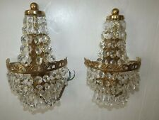 VINTAGE PAIR OF CUT GLASS CRYSTAL GOLD-PLATED CHANDELIER SCONCES