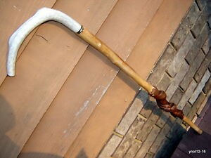 vine twisty SILVER MAPLE/STAG DEER ANTLER/BONE walking-stick~big man cane