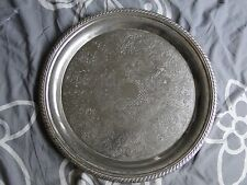 Large Round Silver Plated Engraved Platter, 1900, Sheffield, Gadroon Border