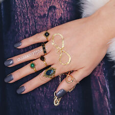Retro 5Pcs Boho Nature Stone Above Knuckle Ring Midi Finger Rings Jewelry Kit AU