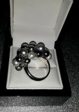 925 Sterling Silver Pearl Ring, UK Ring Size K