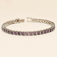 Natural Panorama Amethyst Tennis Bracelet 925 Sterling Silver Engagement Jewelry