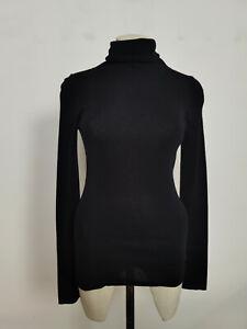 Jigsaw Silk Cotton Polo Neck Sweater Black Size S RRP £90.00