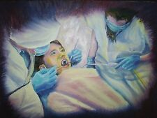 Boy Vampire Dentist Chair Fangs Scary Horror Art Painting Print Visdom Teeth
