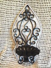 "Wall Sconce Candle Holder Whitewashed Mango Wood & Black Metal 12"" Home Decor"