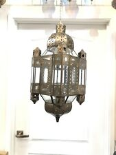 Moroccan Style Glass Lantern Large Lamp Metal Ceiling Light By Zenda Imports