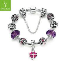 Authentic Fashion Purple Charms Bead Dangle Bracelet For Women Christmas Jewelry