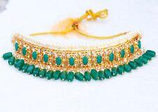 Indian Hyderabadi Green Necklace Earrings Gulband Choker Fashion Nizam Jewelry
