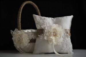 Lace Bearer Pillow Ivory Rustic Wedding Flower Lace Ring Girl Basket Set