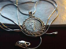 "Ancient Silver Constantine Denari Sterling Pendant on a 22"" Italy Silver Chain."