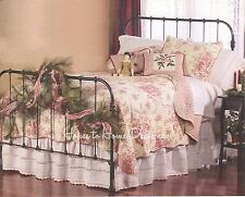 FRENCH COUNTRY RED ROSE * King * QUILT SET : COTTAGE SHABBY CREAM COMFORTER