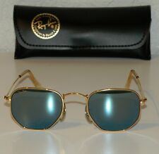 New listing Ray Ban B&L Usa Nos Blue Mirrored Gold Hexagon Style 3 Aviators Sunglasses W1864