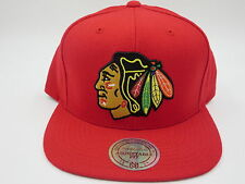 Chicago Blackhawks Red Wool Mitchell & Ness NHL Retro Logo Snapback Hat Cap