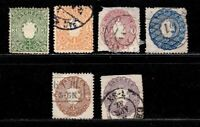 Saxony stamps #15 - 20, 1 mint, rest used, 1863, full set,  SCV $76.65