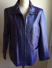 CENTIGRADE .. 100% LEATHER ZIP UP JACKET .. PURPLE .. SIZE M APPROX SIZE 12-14