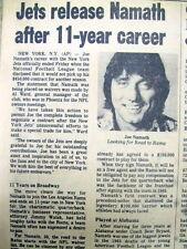 1977 newspaper NEW YORK JETS Release Quarterback JOE NAMATH Super Bowl III Hero