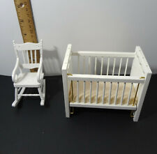 Dollhouse Furniture Miniature Nursery Baby Rocker & Baby Crib White 1:12 Scale