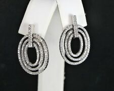 14K White Gold Single Cut Round Diamond Dangle Butterfly Back Earrings