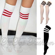 New Sports Stripes Socks Cheerleader Knee High Tube Socks Mens Womens Stockings