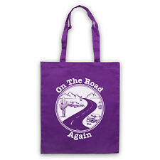 ON THE ROAD AGAIN TRAVELLING TOURING TRIP SLOGAN SHOULDER TOTE SHOP BAG