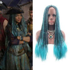 Descendants 2 Uma Cosplay Wig Long Braided Dreadlock Mixed Blue Wig Hair+Wig cap