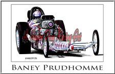 "Drag Racing Art Print of Baney Prudhomme 13"" x 19"""