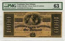 1840's-60s New Orleans Citizens Bank Louisiana 1000 Dollar PMG 63 Mille Piastre