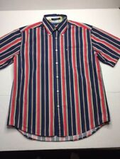 Tommy Hilfiger Button Down Short Sleeve Red White Blue Yellow Medium