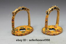 China Pure Bronze Cloisonne handwork Horse pedal Stirrup statue pair