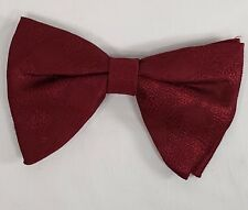 NOS Vintage Mens Bow Tie NeckTie Grip On Clip On Damask Burgundy Business CAREER