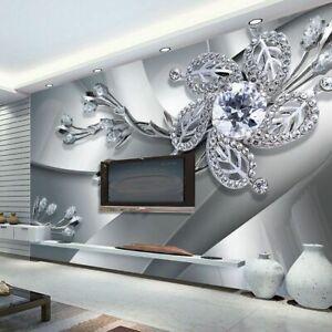 New High Quality Custom Wall Cloth Modern Creative Art 3D Diamond Flower Pattern