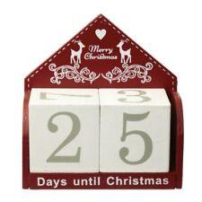 Rouge en Bois Calendrier de L'Avent Noël Bloc Jours avant Réutilisable Minuteur