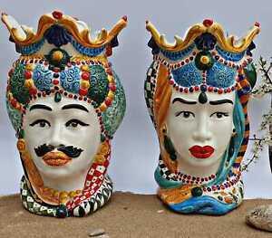 Coppia teste di moro artigianale ceramica Siciliana di Caltagirone varie misure