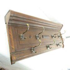 """Antique Mission Craftsman Tiger Oak Large 39"""" Coat Rack Brass Hooks 1900"""