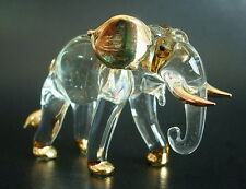 Curio Glass ELEPHANT African Animal Painted Glass Ornament Blown Glass Figure
