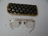 Vintage Gold Filled Metal Eyeglasses Bifocal AO 1/10 12K GF with Case