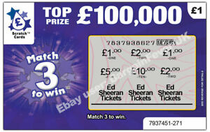 Ed Sheeran Tickets as Prize Gift Surprise Reveal Scratch Card Personalised