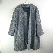 Talbots Blazer Jacket 3X Swing Coat Navy Blue White Tweed Plus Size Snap Up