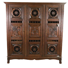 Antique Armoire Breton, Triple Door French Breton Style Oak Armoire, Beautiful!!